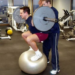 Stability ball barbell squat