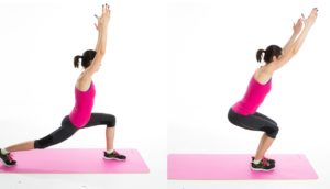 Crescent pose to chair