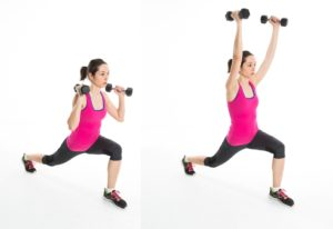Lunge with shoulder press