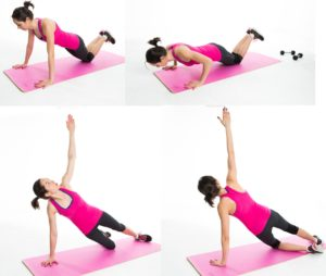 Push up side arm plank on the knees